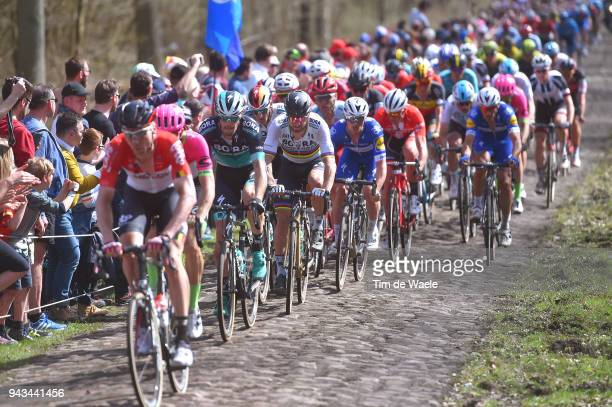 Peter Sagan of Slovakia and Team Bora - Hansgrohe / Trouee d Arenberg / Cobbles / Peloton / Landscape / during the 116th Paris to Roubaix 2018 a...