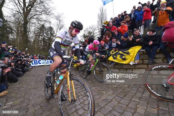 Peter Sagan of Slovakia and Team Bora - Hansgrohe / Wall of Geraardsbergen / De Muur / Fans / Public / during the 102nd Tour of Flanders 2018 - Ronde...