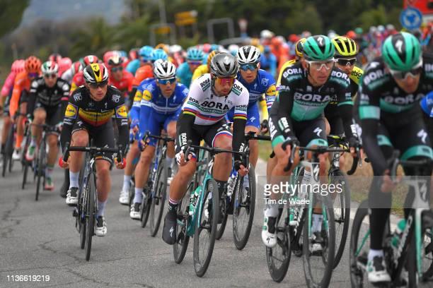 Peter Sagan of Slovakia and Team Bora - Hansgrohe / Yves Lampaert of Belgium and Deceuninck - Quick-Step / Peloton / during the 54th...