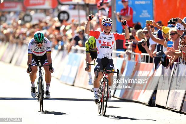 Peter Sagan of Slovakia and Team BoraHansgrohe and Caleb Ewan of Australia and Team Lotto Soudal sprint to the finish line during the 2019 Tour Down...