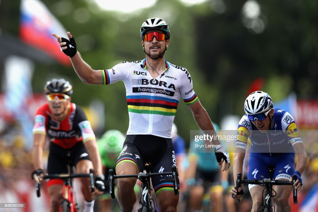 Peter Sagan of Slovakia and team Bora-Hansgrohe celebrates as he crosses the line to win stage 3 of the 2017 Tour de France, a 212.5km road stage from Verviers to Longwy on July 3, 2017 in Longwy, France.