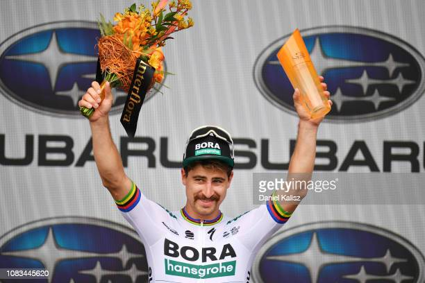 Peter Sagan of Slovakia and Team Bora-Hansgrohe celebrates Celebration / on the podium after winning stage three of the 2019 Tour Down Under on...