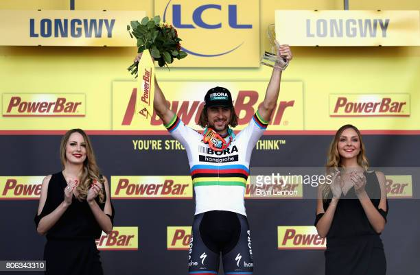 Peter Sagan of Slovakia and team Bora-Hansgrohe celebrates victory on the podium following stage 3 of the 2017 Tour de France, a 212.5km road stage...