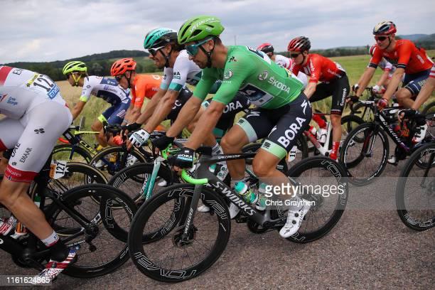 Peter Sagan of Slovakia and Team Bora-Hansgrohe Green Sprint Jersey / Daniel Oss of Italy and Team Bora-Hansgrohe / Peloton / during the 106th Tour...