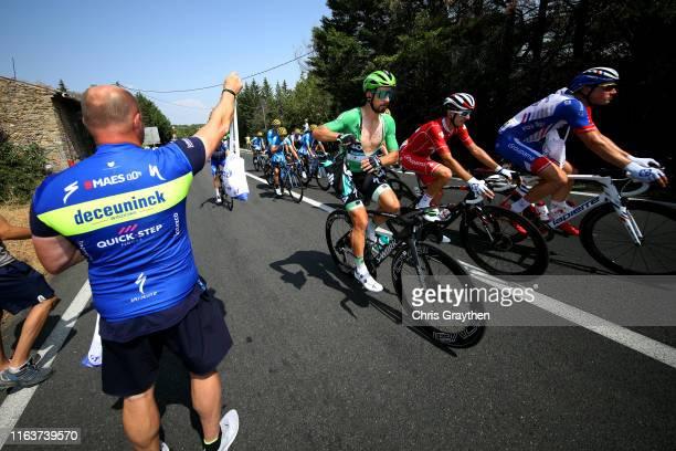 Peter Sagan of Slovakia and Team Bora-Hansgrohe Green Sprint Jersey / Sebastien Reichenbach of Switzerland and Team Groupama-FDJ / Stefan Küng of...