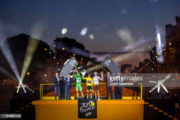 Peter Sagan of Slovakia and Team Bora-Hansgrohe Green Sprint Jersey, Egan Bernal of Colombia and Team INEOS Yellow Leader Jersey and Romain Bardet of...