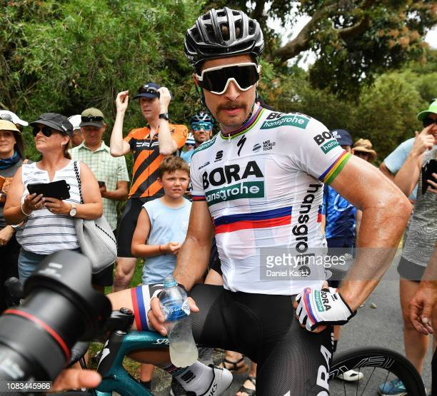 Peter Sagan of Slovakia and Team Bora-Hansgrohe looks on after winning stage three of the 2019 Tour Down Under on January 17, 2019 in Uraidla,...