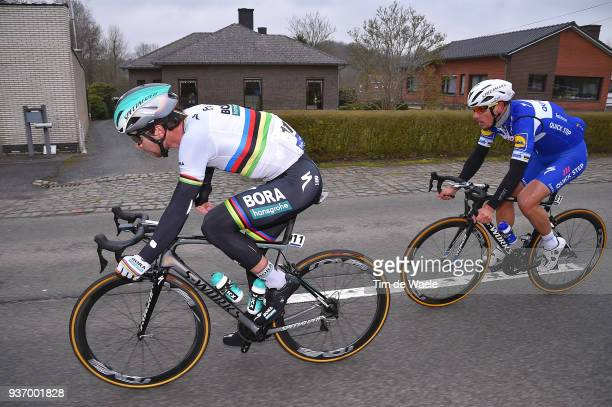 Peter Sagan of Slovakia and Team Bora-Hansgrohe / Philippe Gilbert of Belgium and Team Quick-Step Floors /during the 61st E3 Harelbeke 2018 a 206,4km...