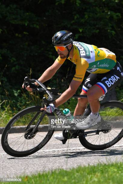 Peter Sagan of Slovakia and Team BoraHansgrohe Yellow Leader Jersey / during the 83rd Tour of Switzerland Stage 5 a 177km stage from Münchenstein to...