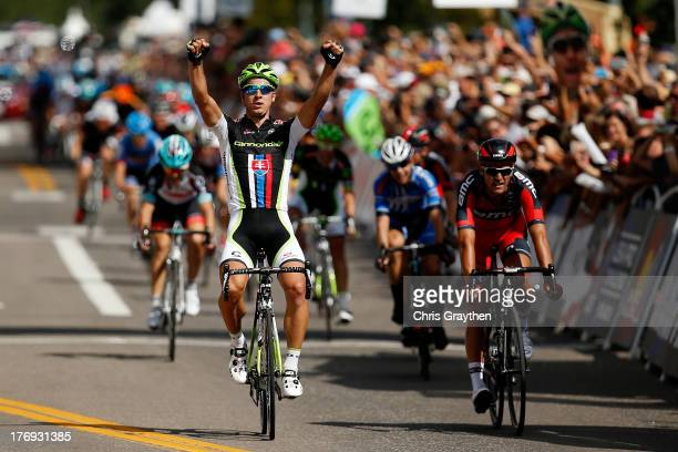 Peter Sagan of Slovakia and Team Cannondale Pro Cycling crosses the finish line to win stage one of the USA Pro Cycling Challenge on August 19, 2013...