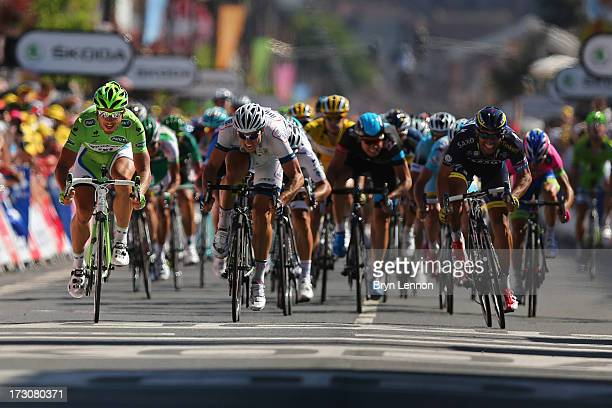 Peter Sagan of Slovakia and Team Cannondale with John Degenkolb of Germany and Team Argos-Shimano and Daniele Bennati of Italy and Team Saxo-Tinkoff...