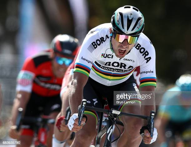 Peter Sagan of Slovakia and the BoraHansgrohe team sprints for the finishline on his way to winning stage 3 of the AMGEN Tour of California from...