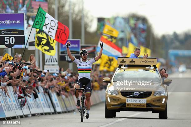 Peter Sagan of Slovakia and Tinkoff celebrates winning the 100th edition of the Tour of Flanders from Bruges to Oudenaarde on April 3 2016 in Bruges...