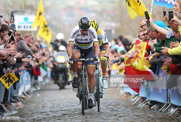 Peter Sagan of Slovakia and Tinkoff up the Oude Kwaremont during the 100th edition of the Tour of Flanders from Bruges to Oudenaarde on April 3 2016...