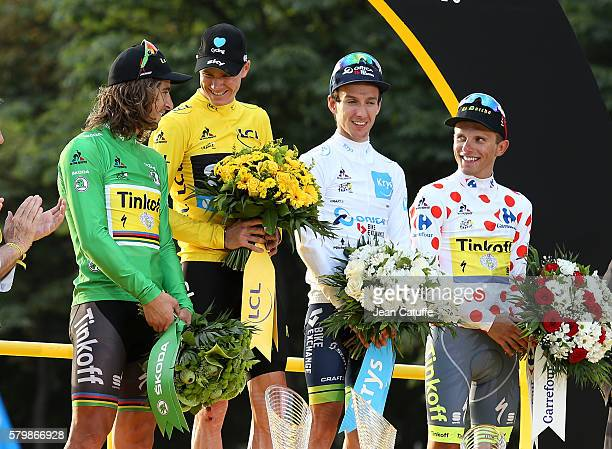 Peter Sagan of Slovakia and Tinkoff winner of the green jersey of best sprinter Chris Froome of Great Britain and Team Sky winner of the Tour de...