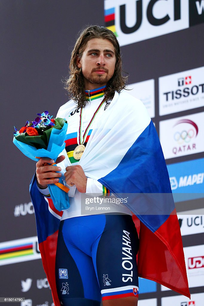 Peter Sagan of Slovakia celebrates victory on the podium after the Elite Men's Road Race on day eight of the UCI Road World Championships on October 16, 2016 in Doha, Qatar.