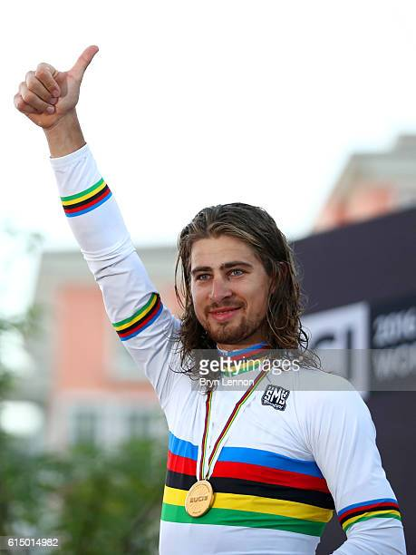 Peter Sagan of Slovakia celebrates victory on the podium after the Elite Men's Road Race on day eight of the UCI Road World Championships on October...