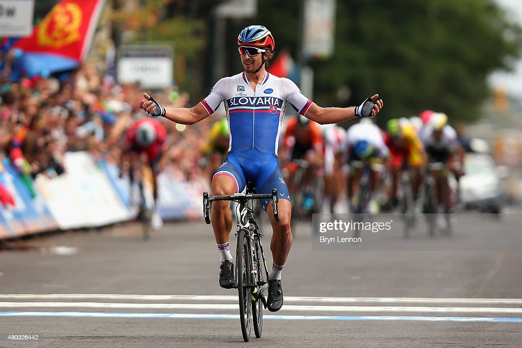 Peter Sagan of Slovakia celebrates winning the Elite Men World Road Race Championship on day eight of the UCI Road World Championships on September 27, 2015 in Richmond, Virginia.