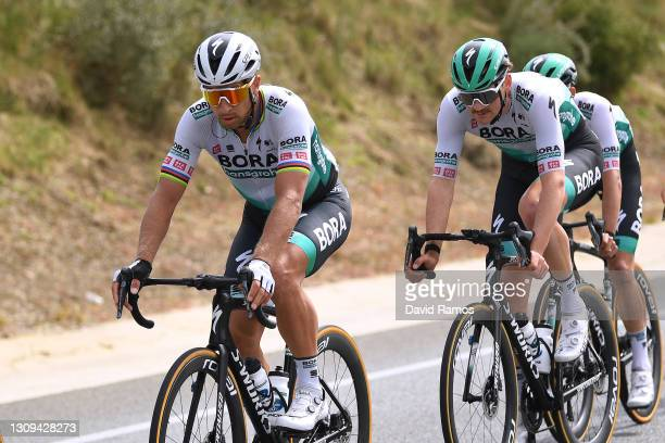 Peter Sagan of Slovakia & Frederik Wandahl of Denmark and Team BORA - Hansgrohe during the 100th Volta Ciclista a Catalunya 2021, Stage 6 a 193,8km...