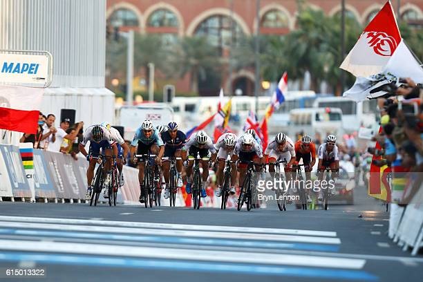 Peter Sagan of Slovakia leads Mark Cavendish of Great Britain and Tom Boonen of Belgium as they approach the finish line of the Elite Men's Road Race...