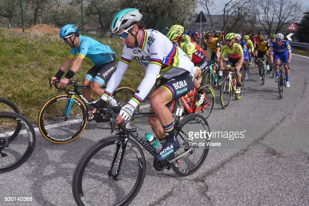 Peter Sagan of Slovakia / Peloton / during the 53rd TirrenoAdriatico 2018 Stage 4 a 219km stage from Follonica to Sarnano Sassotetto 1335m on March...
