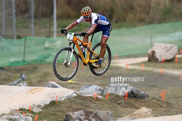 Peter Sagan of Slovakia practices on the Mountain Bike course on Day 15 of the Rio 2016 Olympic Games at the Mountain Bike Centre on August 20, 2016...