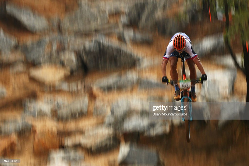 Peter Sagan of Slovakia rides during the Men's Cross-Country on Day 16 of the Rio 2016 Olympic Games at Mountain Bike Centre on August 21, 2016 in Rio de Janeiro, Brazil.