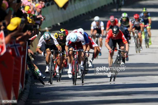 Peter Sagan of Slovakia riding for Bora-Hansgrohe and Mark Cavendish of Great Britain riding for Team Dimension Data are involved in a crash near the...
