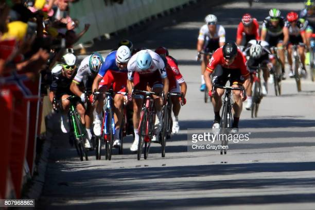 Peter Sagan of Slovakia riding for BoraHansgrohe and Mark Cavendish of Great Britain riding for Team Dimension Data are involved in a crash near the...
