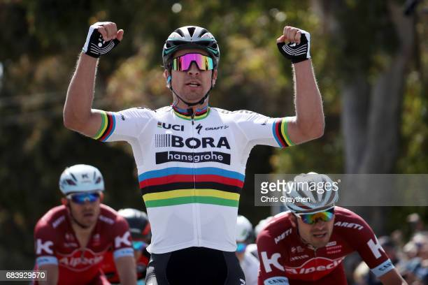 Peter Sagan of Slovakia, riding for Bora-hansgrohe celebrates after winning stage 3 of the AMGEN Tour of California from Pimo Beach to Morro Bay on...
