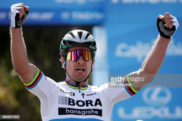 Peter Sagan of Slovakia riding for Borahansgrohe celebrates after winning stage 3 of the AMGEN Tour of California from Pimo Beach to Morro Bay on May...
