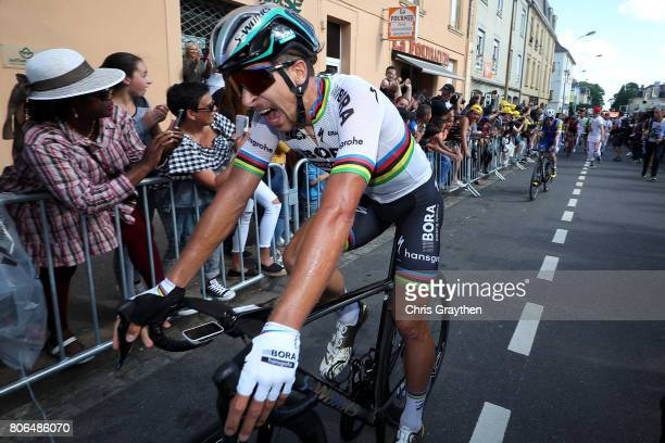 Peter Sagan of Slovakia riding for BoraHansgrohe reacts after winning stage three of the 2017 Le Tour de France a 2125km stage from Verviers to...