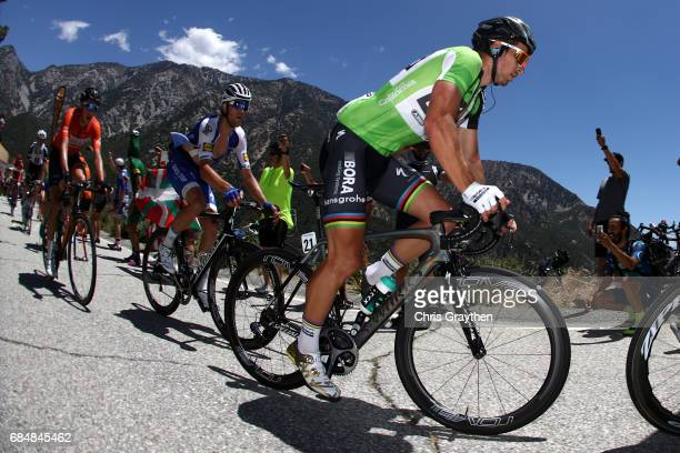Peter Sagan of Slovakia riding for BoraHansgrohe rides up the Glendora Ridge Road summit during stage five of the AMGEN Tour of California from...
