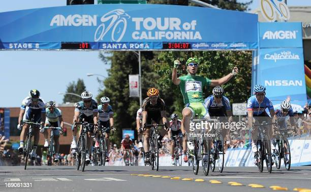 Peter Sagan of Slovakia riding for Cannondale celebrates after winning stage eight of the Amgen Tour of California on May 19, 2013 in Santa Rosa,...