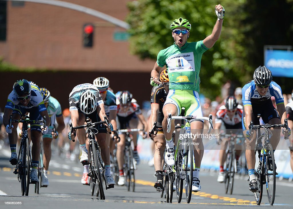 Peter Sagan of Slovakia riding for Cannondale celebrates after winning stage eight of the Amgen Tour of California on May 19, 2013 in Santa Rosa, California.