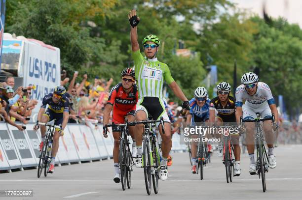 Peter Sagan of Slovakia riding for Cannondale Pro Cycling sprints to victory in Stage Six of the USA Pro Cycling Challenge on August 24 2013 in Ft...
