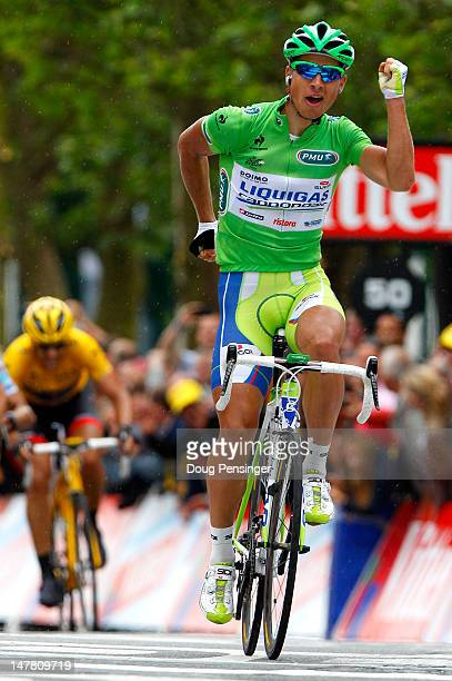 Peter Sagan of Slovakia riding for Liquigas-Cannondale celebrates as he crosses the finish line to win stage three of the 2012 Tou de France from...
