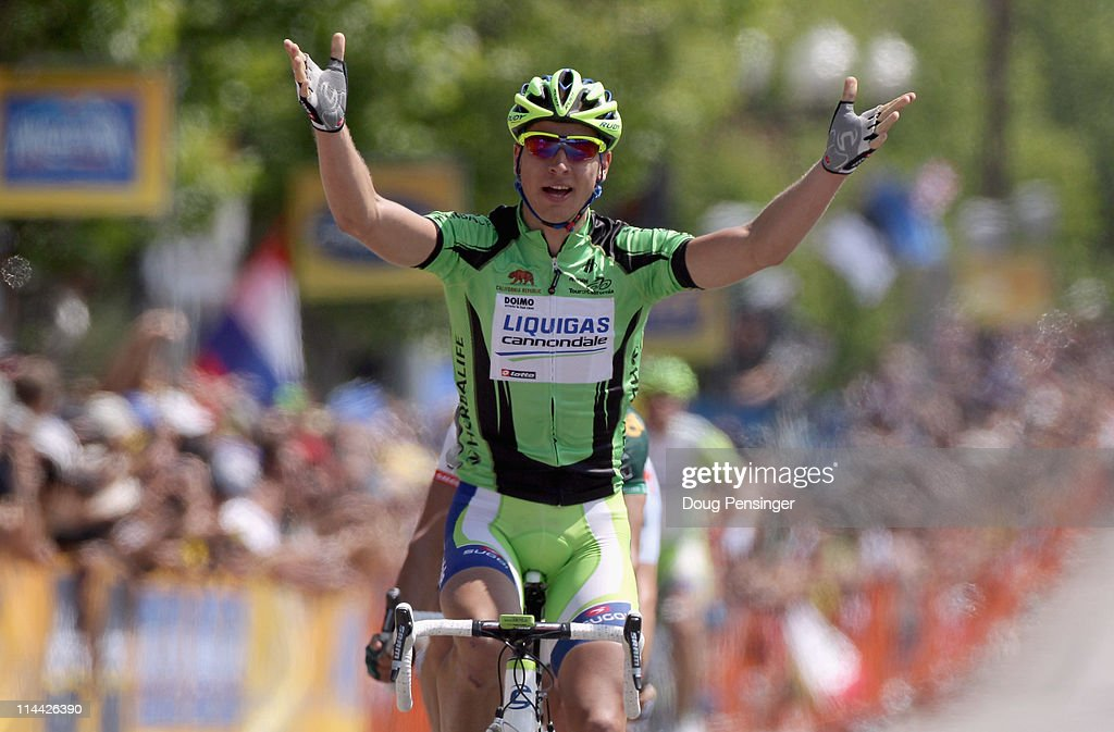 Peter Sagan of Slovakia riding for Liquigas-Cannondale celebrates after winning stage five of the 2011 AMGEN Tour of California from Seaside to Paso Robles on May 19, 2011 in Paso Robles, California.