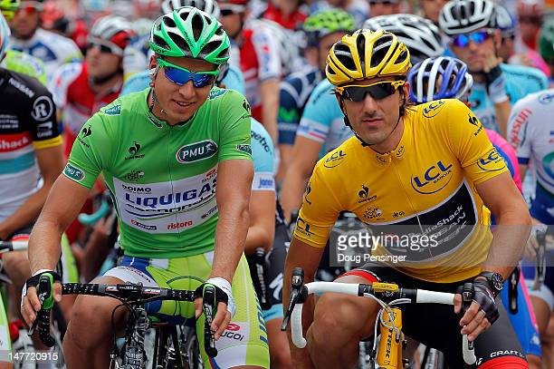 Peter Sagan of Slovakia riding for Liquigas-Cannondale in the green points leader jersey and Fabian Cancellara of Switzerland riding for BMC Racing...
