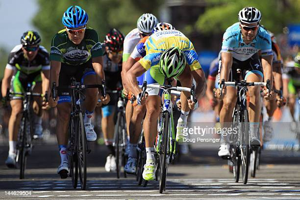 Peter Sagan of Slovakia riding for Liquigas-Cannondale lunges for the finish line ahead of Heinrich Haussler of Australia riding for Garmin-Barracuda...
