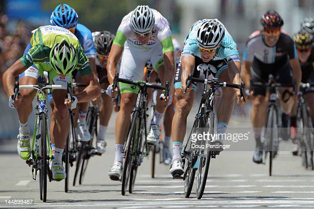 Peter Sagan of Slovakia riding for LiquigasCannondale sprint to the line ahead of Tom Boonen of Belgium riding for Omega PharmaQuickStep in second...