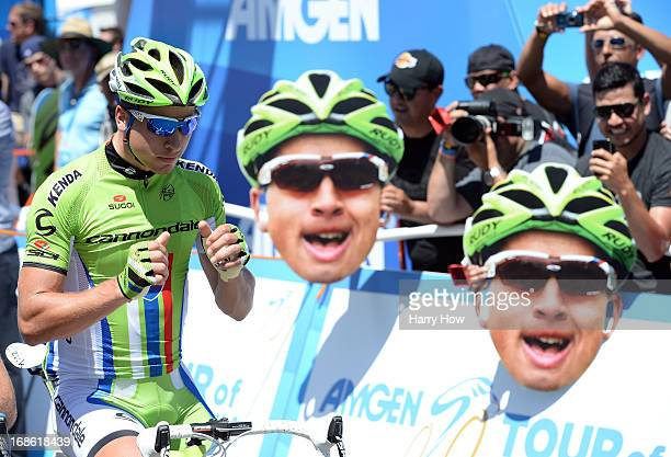 Peter Sagan of Slovakia riding for Orica Greenedge lines up at the start for Stage 1 of the Amgen Tour of California on May 12, 2013 in Escondido,...