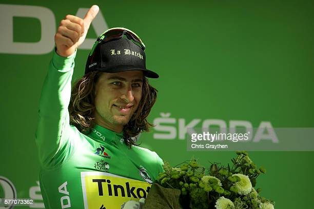 Peter Sagan of Slovakia riding for Tinkoff poses on the podium in the points jersey following his win in stage 16 of the 2016 Le Tour de France a...