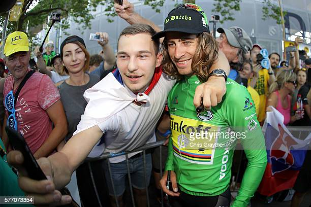 Peter Sagan of Slovakia riding for Tinkoff poses with fans following his win in stage 16 of the 2016 Le Tour de France a 209km stage from...
