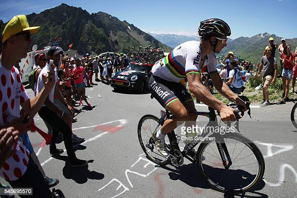 Peter Sagan of Slovakia riding for Tinkoff rides up the Col du Tourmalet during stage eight of the 2016 Le Tour de France a 184km stage from Pau to...