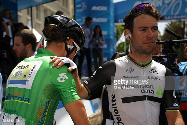 Peter Sagan of Slovakia riding for Tinkoff talks with Mark Cavendish of Great Britian riding for Team Dimension Data for Qhubeka prior to stage 8 of...