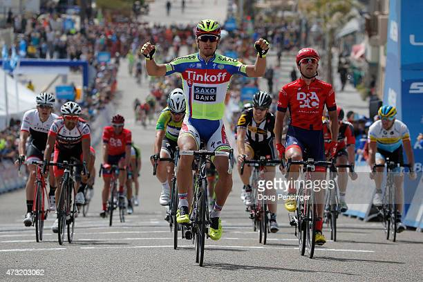 Peter Sagan of Slovakia riding for TinkoffSaxo celebrates as he wins stage four of the 2015 Amgen Tour of California from Pismo Beach to Avila Beach...