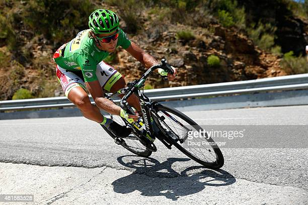 Peter Sagan of Slovakia riding for TinkoffSaxo descends the Col des Leques as he rides in the breakaway and defends the green points leader jersey in...