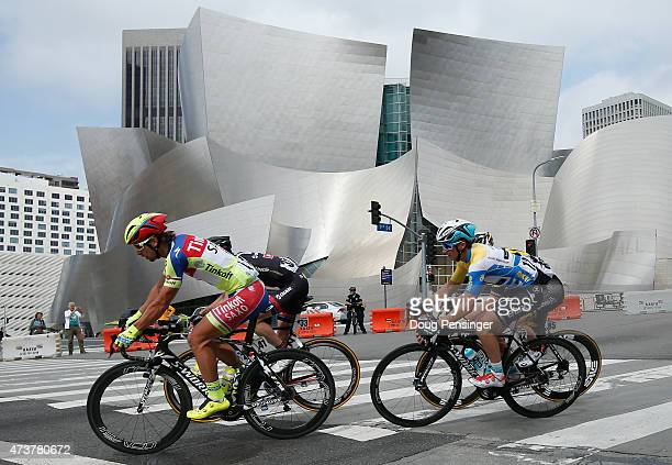 Peter Sagan of Slovakia riding for TinkoffSaxo is followed by Julian Alaphilippe of France riding for Etixx QuickStep in the overall race leader...