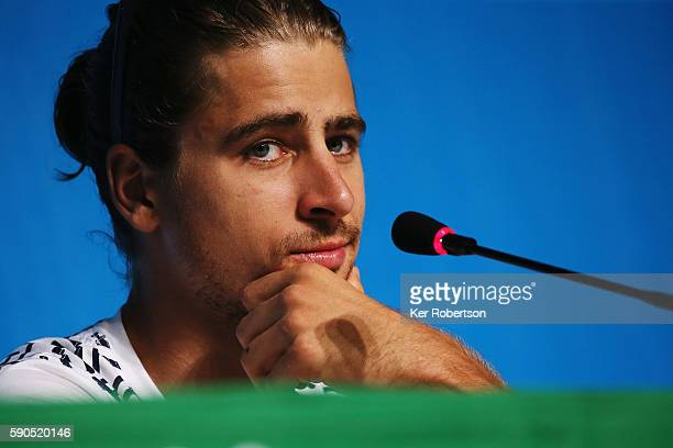 Peter Sagan of Slovakia talks at Olympic Mountain Bike Cycling press conference on August 16 2016 in Rio de Janeiro Brazil